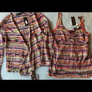 Dana Buchman XL Knit Cardigan in Raspberry/Multi